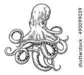 Octopus. Vector Black Engravin...