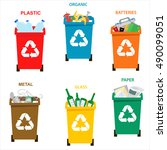 recycle garbage bins.... | Shutterstock .eps vector #490099051