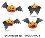 halloween bat   halloween with... | Shutterstock .eps vector #490099975