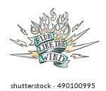 vintage old school biker tattoo | Shutterstock .eps vector #490100995