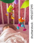 baby bed with mobile toy above... | Shutterstock . vector #490107295