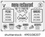 placemat menu restaurant food... | Shutterstock .eps vector #490108207