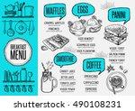 breakfast menu placemat food... | Shutterstock .eps vector #490108231