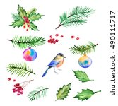 christmas design set watercolor ... | Shutterstock . vector #490111717