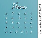 realistic neon character... | Shutterstock .eps vector #490114291