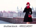 fall winter fashion image. a... | Shutterstock . vector #490114597