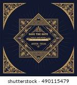 vintage wedding label | Shutterstock .eps vector #490115479