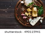 cheese delikatessen top view on ... | Shutterstock . vector #490115941