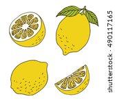 lemon set on white background ... | Shutterstock . vector #490117165