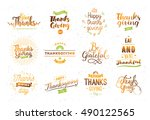 thanksgiving day typography set.... | Shutterstock .eps vector #490122565