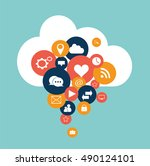 cloud computing with social... | Shutterstock .eps vector #490124101