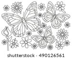 Stock vector coloring page butterflies with flowers 490126561