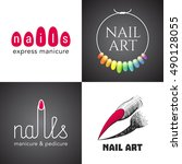 set of nails salon  nails art... | Shutterstock .eps vector #490128055