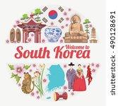 south korea travel vector... | Shutterstock .eps vector #490128691