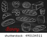 bread sorts and bakery products.... | Shutterstock .eps vector #490134511