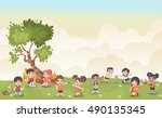 green grass landscape with cute ... | Shutterstock .eps vector #490135345