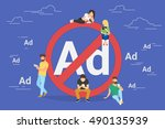mobile ad prohibition concept... | Shutterstock .eps vector #490135939
