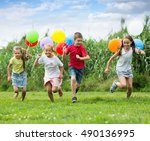 excited elementary school age... | Shutterstock . vector #490136995