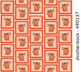 gingham pumpkin background... | Shutterstock . vector #490137