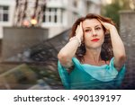 portrait of a woman with red... | Shutterstock . vector #490139197