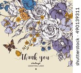 vintage floral vector card with ... | Shutterstock .eps vector #490139311