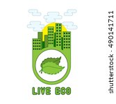 """""""live eco"""" poster with the...   Shutterstock .eps vector #490141711"""