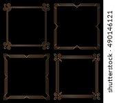 set of 4 geometric square... | Shutterstock .eps vector #490146121