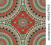 colorful ethnic patterned... | Shutterstock .eps vector #490147915
