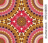 colorful ethnic patterned... | Shutterstock .eps vector #490148005