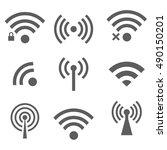 vectvor black wireless icons... | Shutterstock .eps vector #490150201