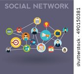 social media network. growth...   Shutterstock .eps vector #490150381