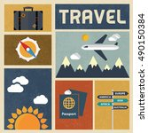 travel icons set. retro vintage ... | Shutterstock .eps vector #490150384
