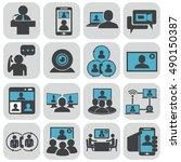 business communication. video... | Shutterstock .eps vector #490150387