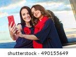 two girls friends taking selfie ...   Shutterstock . vector #490155649
