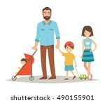 single father with three young... | Shutterstock .eps vector #490155901