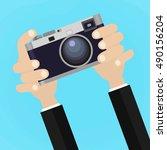 flat illustration of retro... | Shutterstock .eps vector #490156204