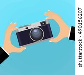 flat illustration of retro... | Shutterstock .eps vector #490156207