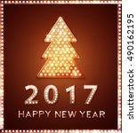 retro light banner a christmas... | Shutterstock .eps vector #490162195