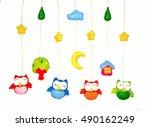 baby crib  mobile   kids toys ... | Shutterstock . vector #490162249