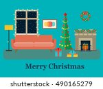 christmas room interior.... | Shutterstock .eps vector #490165279