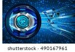 future technology  blue eye... | Shutterstock .eps vector #490167961