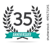 template logo 35 years... | Shutterstock .eps vector #490171141