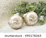 golden baubles with christmas... | Shutterstock . vector #490178365