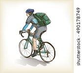 A Man Riding Bicycle  Free Han...