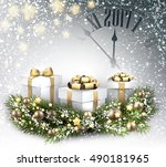 2017 new year background with... | Shutterstock .eps vector #490181965