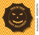 scary carved pumpkin face for... | Shutterstock .eps vector #490184794