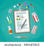 clipboard with patient card and ... | Shutterstock .eps vector #490187815
