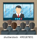 video conference concept. room... | Shutterstock .eps vector #490187851