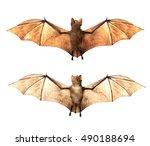 vampire bats isolated on white... | Shutterstock . vector #490188694