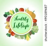 a healthy lifestyle  cover... | Shutterstock .eps vector #490189687